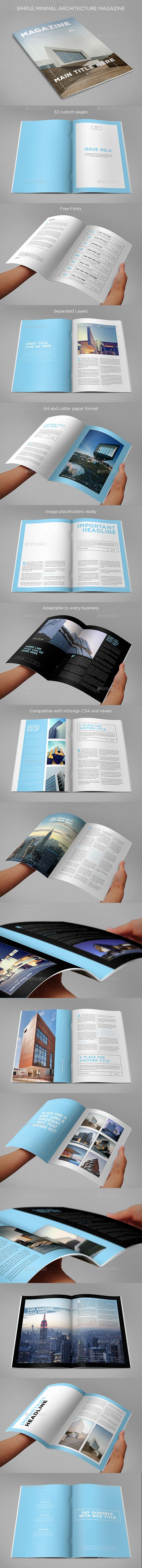 Simple Minimal Architecture Magazine — InDesign INDD #flexible #clean • Available here → https://graphicriver.net/item/simple-minimal-architecture-magazine/14459946?ref=pxcr