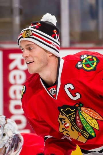 Jonathan Toews in his Winter Classic toque.