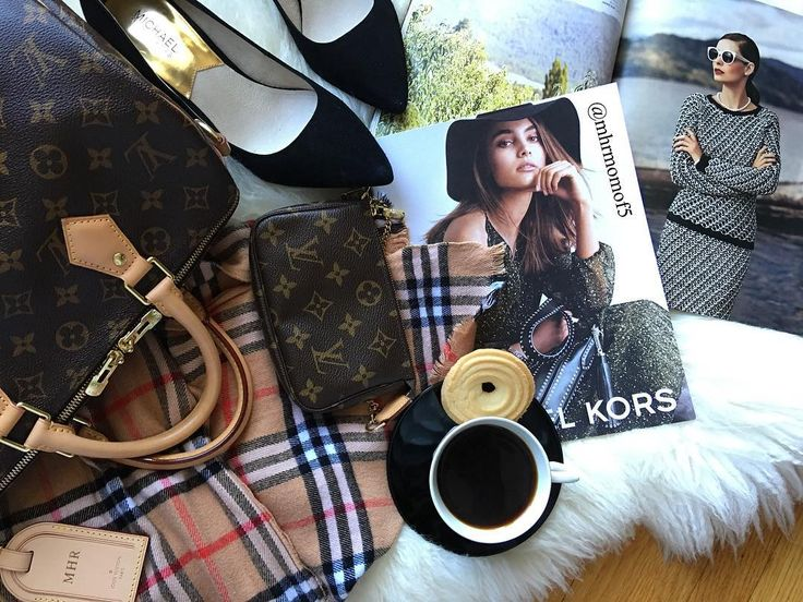 Fall layers with Louis Vuitton bag, Burberry scarf and flats. #fashion # burberry