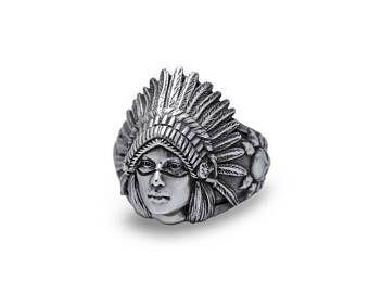 Tribales de nativos americanos anillo anillo joyería indio jefe joyería indio jefe anillo Cherokee indio nativo sólida plata de ley (plata 925)