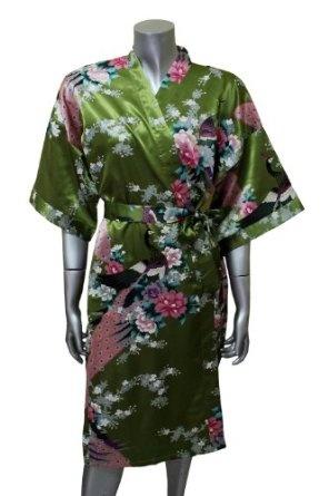 Amazon.com: Asian Peacock Kimono Women's Satin Silk Robe - One Size - Olive: Clothing