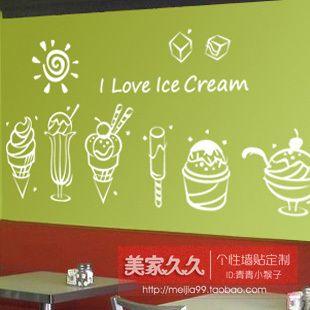 Прямые Продажи Ограниченной Большой Добротный Плакат Декор Стены Vinilos Паредес Мороженое Торт Десерт Окно Наклейки, Украшения Стены