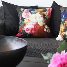 Cushion with flowers. Just love the colours.