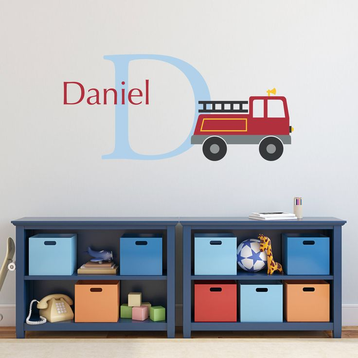 Firetruck Initial Name Wall Decal Set - Personalized Truck Wall Decal - Boy Bedroom Wall Art - Large