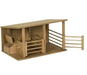 Wooden Toy Horse Stable Stable doors and feeder lids open and close for fun on the farm!