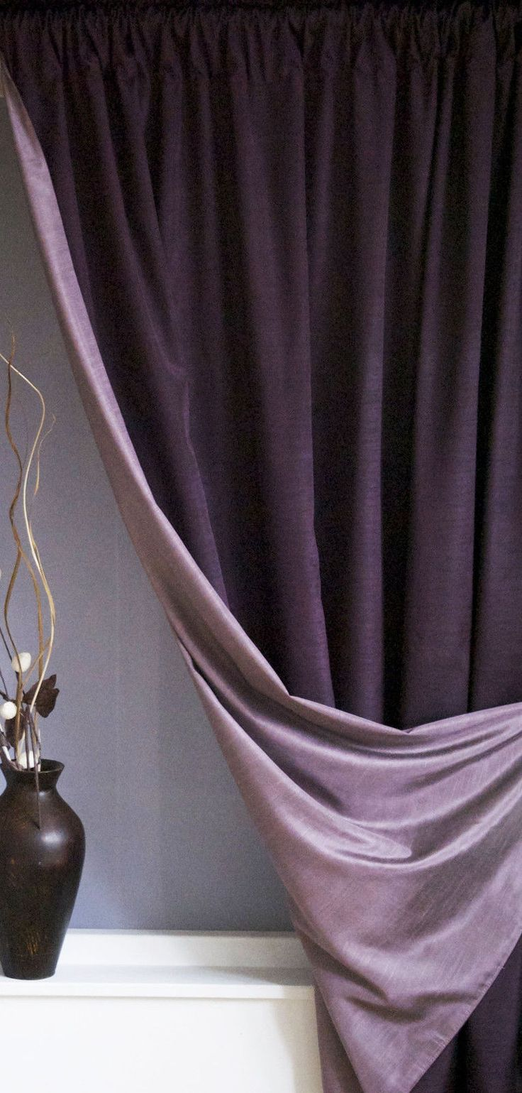Details about Reversible luxury faux silk curtains SLOT TOP – Mulberry & Heather *HALF PRICE