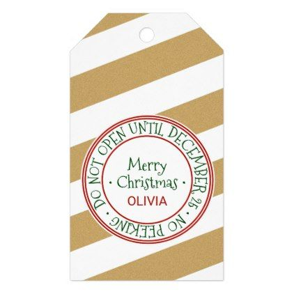 Do Not Open Until December 25 Christmas Name Gift Tags - diy cyo customize create your own personalize