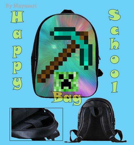 Custom School Bag - MINECRAFT diamond sword Bag This high-quality  school bag is the perfect accessory for school children. Made from high-grade PU leather. It is the perfect way for children to carry