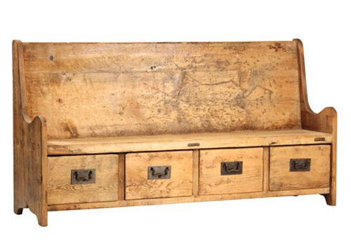 mmm, I want. Love the reclaimed + the church pew/library drawer combo.