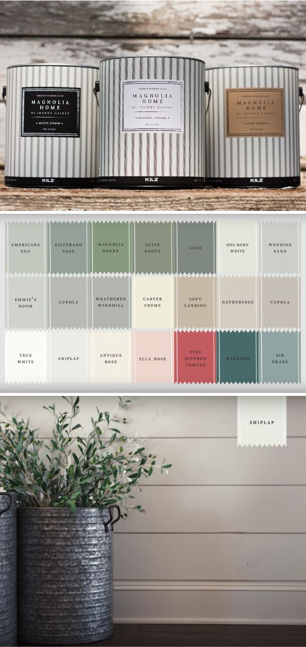 The Magnolia Home Paint collection from designer Joanna Gaines and KILZ is full of so many classic paint colors, you'll have a hard time choosing just one! Create a timeless neutral color palette out of soft cream hues like Shiplap and One Horn White. You can even explore more colorful paints like Vine Ripened Tomato or Magnolia Green.