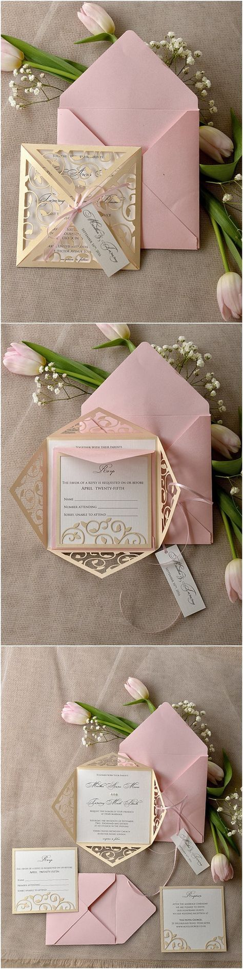 Vintage Patel Pink Blush Gold Laser Cut Quincenaera Invitation Idea | Quinceanera Invitation | Quinceanera Ideas DIY | Quinceanera Idea |