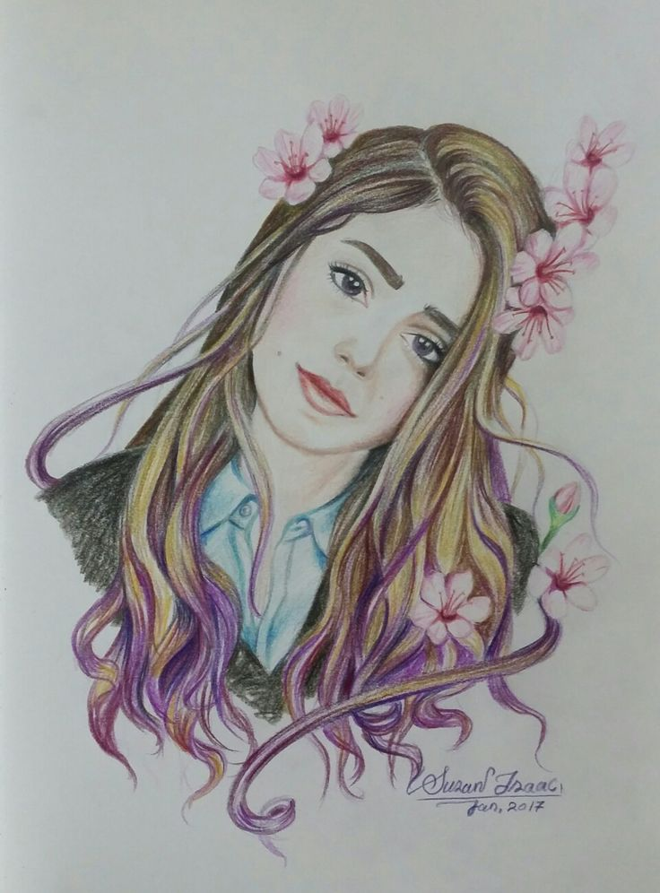 Illustration drawing beautiful Eva with sakura flowers with coloured pencils by Susan Isaac