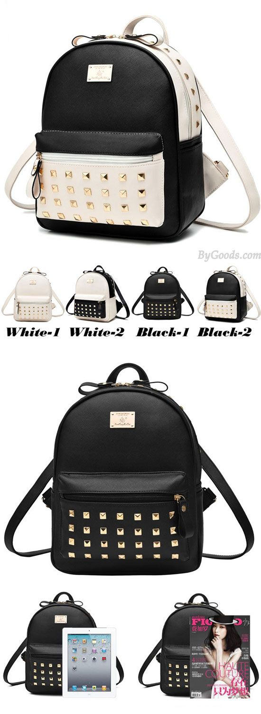 Leisure School Rivets Splicing Color Blocking Square Girl's Backpack PU Travel Backpack for big sale! #rivet #school #backpack #Bag #college #student