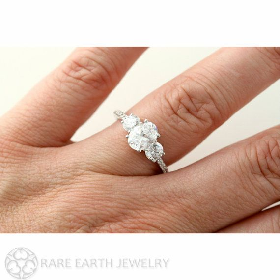 Platinum Oval White Sapphire Engagement Ring 3 Stone by RareEarth