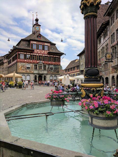 Fountain and main square in Stein am Rhein near Zurich