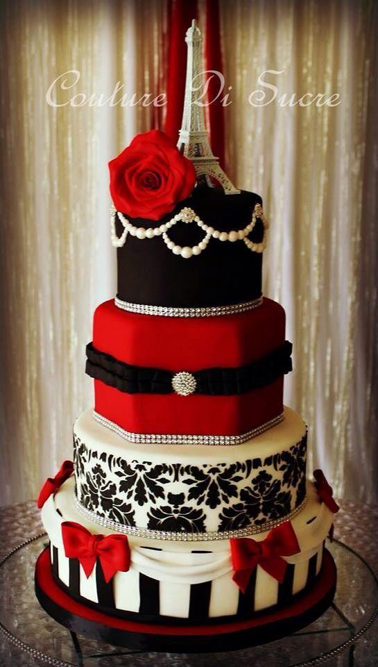 Red Paris Themed Quince | Red Cake Ideas | Paris Cake |