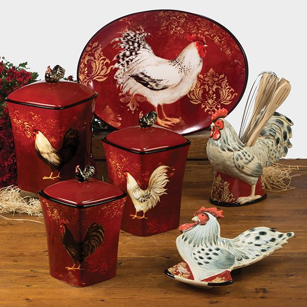 Red Black And White Rooster Dishes Details About Avignon