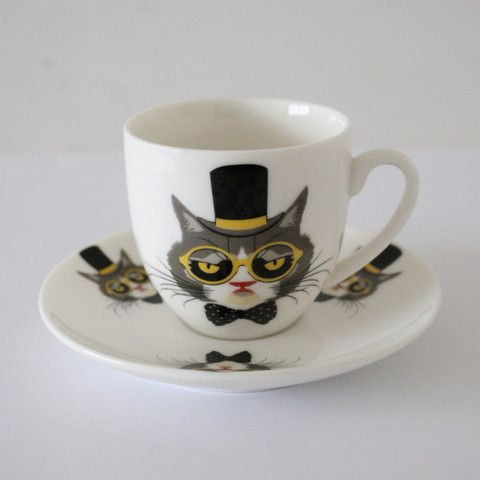 Cat with a Hat Porcelain Turkish Coffee Set for Two