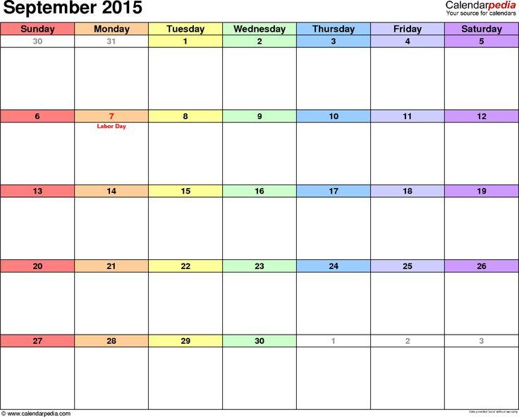 25+ beste ideeën over September calendar printable op Pinterest - calendar templates for kindergarten
