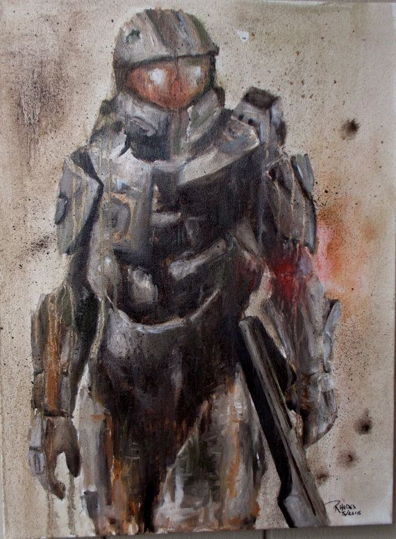 Halo/ Master Chief 2015 in Oil 18x24 by CaseyJRhodesArt on Etsy