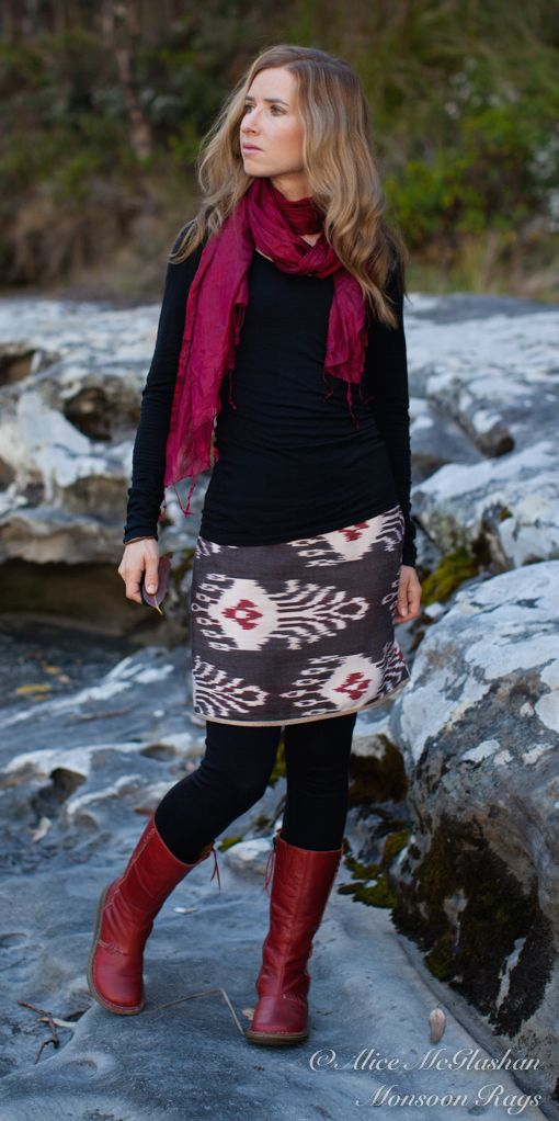 Monsoon Rags Uzbekistan Ikat Mocha Strawberry Skirt #handwoven #ethicalfashion #Uzbekistan
