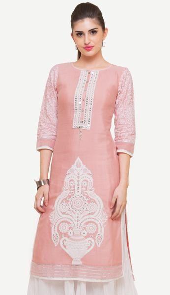 Pink Linolio Embroidered Kurti