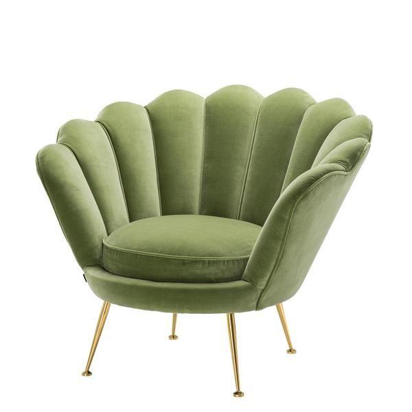 Green Scalloped Accent Chair Eichholtz Trapezium In 2020 Green