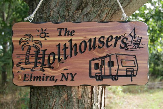 Family Camper Sign Personalized Carved Wooden Last Name Rustic