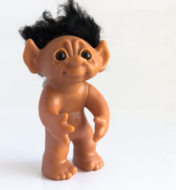 Large Authentic Thomas Dam Troll Doll With Black Hair