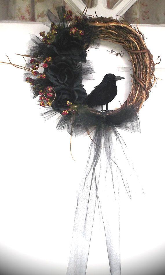 Raven Wreath Crow Wreath Pagan Wreath Fall Wreath