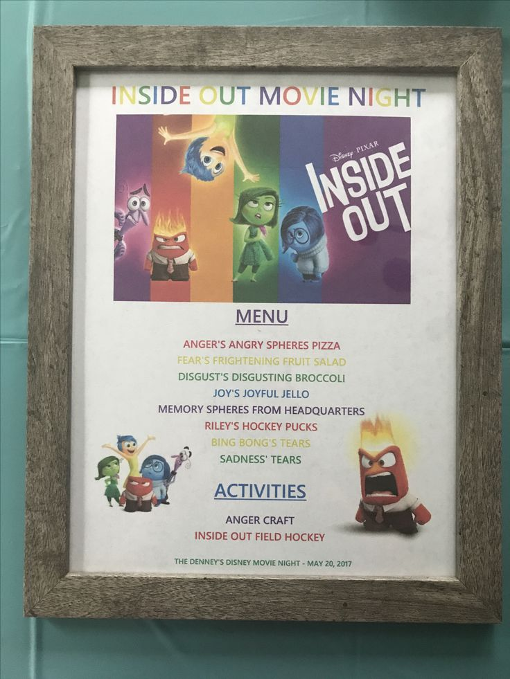 Inside Out Menu - Inside Out Movie Night - Disney Movie Night - Family Movie Night