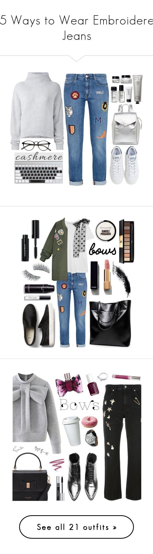 """15 Ways to Wear Embroidered Jeans"" by polyvore-editorial ❤ liked on Polyvore featuring waystowear, embroideredjeans, Le Kasha, Bobbi Brown Cosmetics, STELLA McCARTNEY, Loeffler Randall, adidas, cashmere, RED Valentino and WithChic"