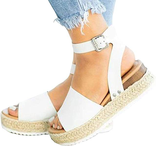 31843ef3372e9 Amazon.com | Ru Sweet Womens Wedges Sandal Open Toe Ankle Strap ...