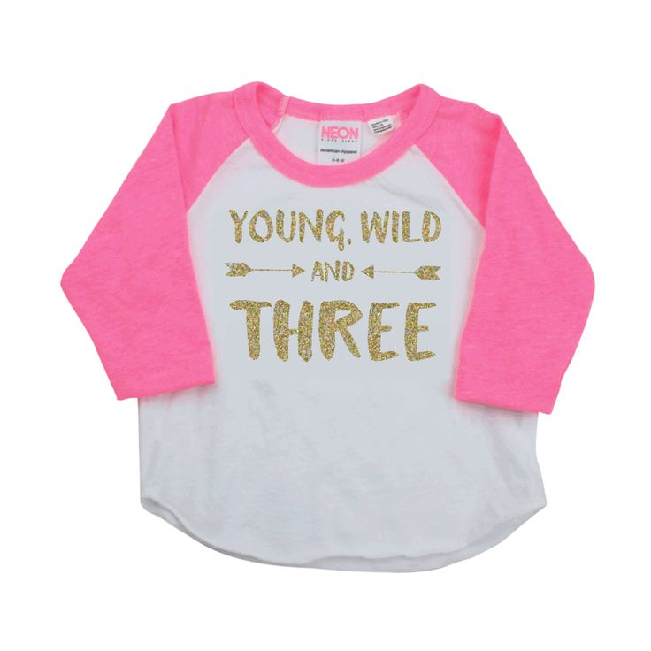 Young Wild And Three Three Third Birthday Shirt Girl 3rd Birthday Shirt Toddler Girl Clothes Kids Fashion Hipster Toddler Clothes 181