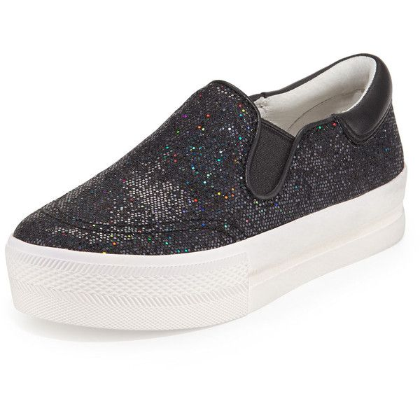 Ash Jam Bis Glitter Platform Sneaker ($94) ❤ liked on Polyvore featuring shoes, sneakers, black flat shoes, black slip on shoes, glitter sneakers, slip on sneakers and high heel sneakers