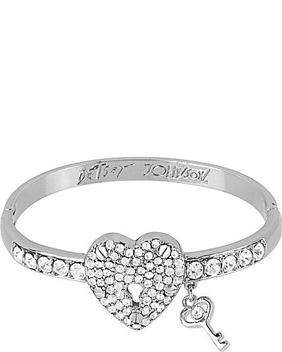 ICONIC HEART HINGED BANGLE CLEAR accessories jewelry bracelets fashion
