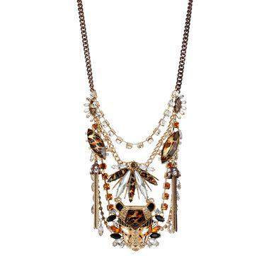 Betsey Johnson Crystal Leopard Head Bib Necklace