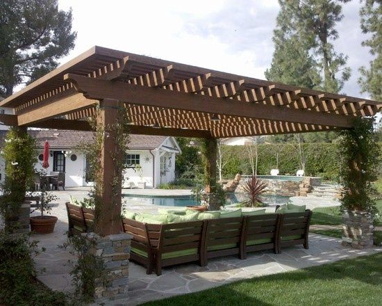Pergola design that just might work for our back yard -- nice shade, clean lines, sturdy posts for heavy vines, good addition of stacked bricks...  Definitely a strong candidate for our house