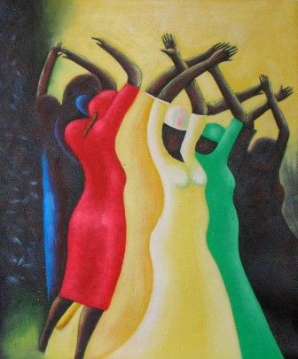 This African Dance oil painting is so pretty with the bright yellow, red, blue and green colors.  Love it.