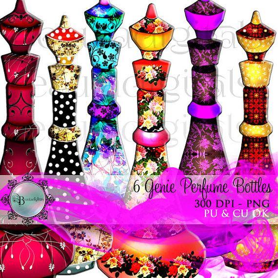 6 Perfume Genie Perfume Bottles  Jeanie Bottles by Beauladigitals