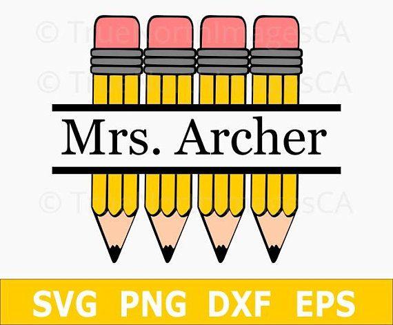 Pencil Svg Teacher Svg Pencil Monogram Split