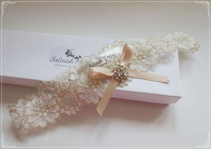 Gold Wedding Garter, Ivory Garter, Bridal Garter, Vintage Wedding Garter, Rustic Wedding, Gold Wedding- code: G157gold by SelinishDesign on Etsy