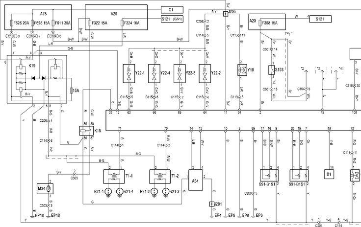 Электросхема управления двигателя Korando/Tager с 1997 по