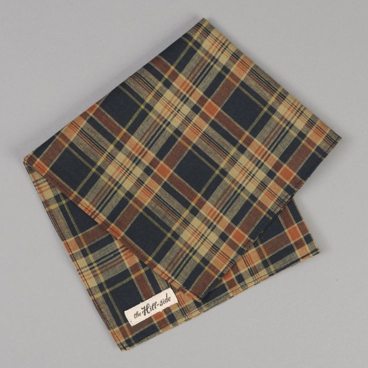 The Hill-Side - Pocket Square, OD Indian Madras, Navy / Orange (Made in the USA)