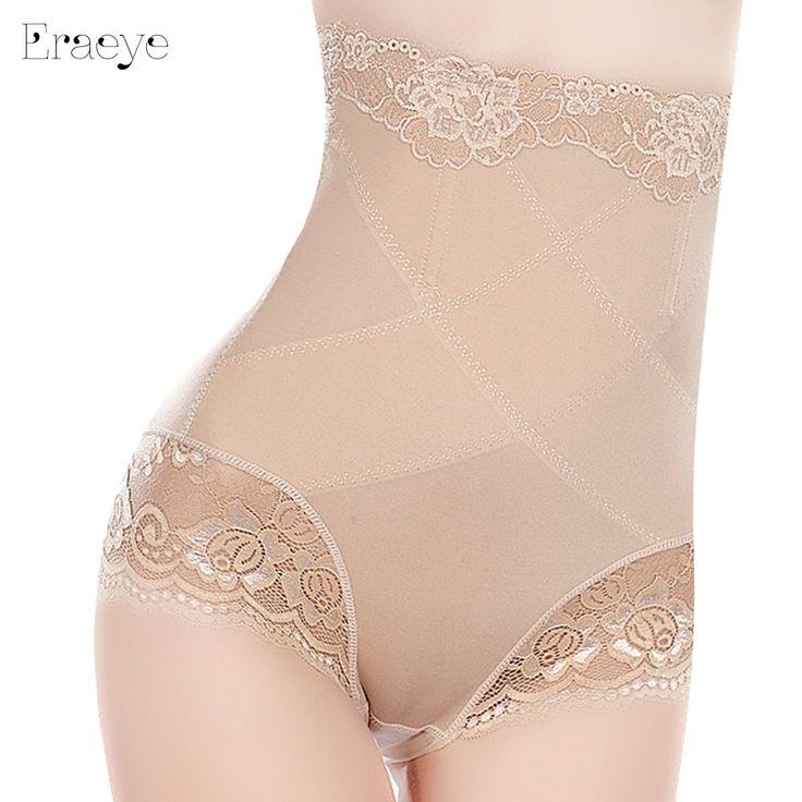 ERAEYE Sexy Slimming High Waist Underwear Women Shapewear Briefs Thin Mid-lumbar Abdomen Hips  Lace Lingerie Boxers Body Shapers