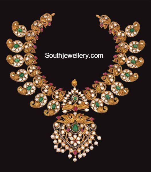 Antique Gold Peacock Mango Necklace