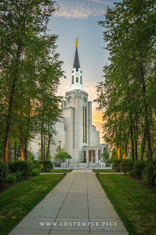 Boston Temple Pathway Sunset - A peaceful summer evening along the pathway leading to the Boston Massachusetts Temple.