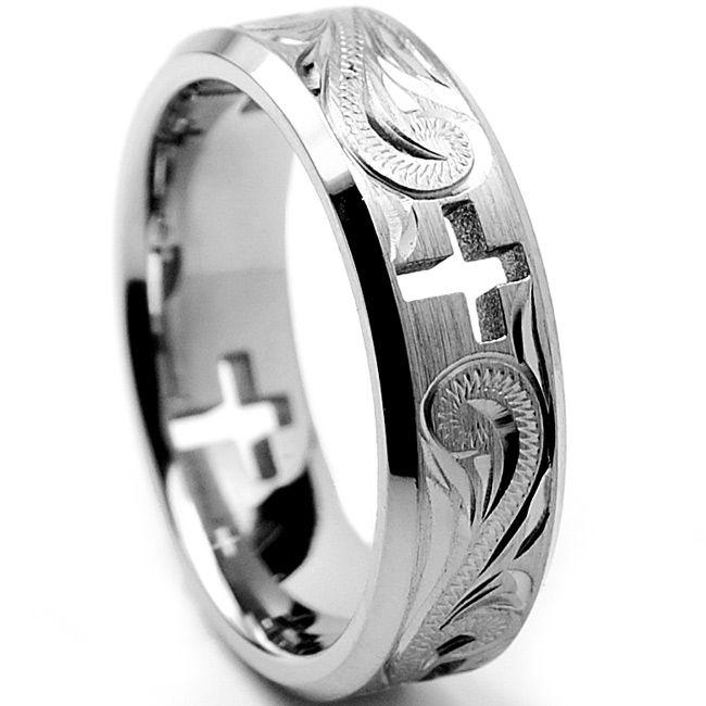 <li>Men's cross cut-out and engraved floral design ring</li><li>Titanium jewelry</li><li><a href='http://www.overstock.com/downloads/pdf/2010_RingSizing.pdf'><span class='links'>Click here for ring sizing guide</span></a></li>