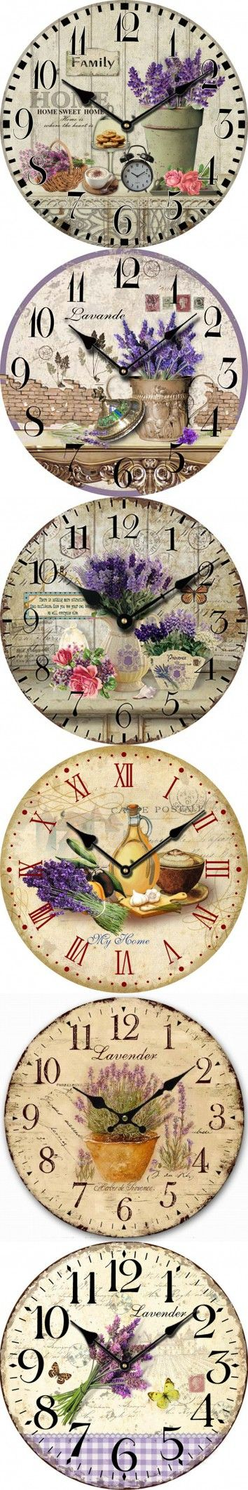 Lavender Large Decorative Wall Clocks Modern Design Living Room Antique Wooden Vintage Wall Clock Home Decor Fashion Rustic $18.32