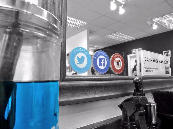 The team at Harold Hill Barbers have seen a 30% increase in followers since installing our #Mirrotag #SocialMedia clings > #ukbarbers #britishmasterbarbers #britishbarbering #barberlife #barberlove #barbershops #menshair